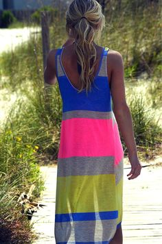 Would Love as a cover up!   Baja Beach Party Neon Striped Tank Dress