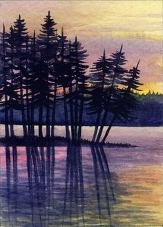 ACEO Original Miniature Watercolor Painting Sunset by Elena Mezhibovsky
