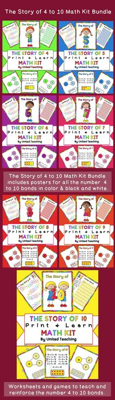 The Story of 4 to 10 Math Kit Bundle >> Teach Number 4 to 10 Bonds and addition facts >> Common Core Standards - CCSS.Math.Content.K.OA.A.3 - CCSS.Math.Content.1.OA.A.1