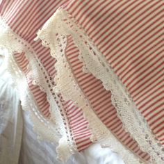 red ticking and lace pillowcases by MyThymeCreations on Etsy