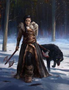 -f Ranger Med Armor Battle Axe Black Wolf. -f Ranger Med Armor Battle Axe Black Wolf. Fantasy Warrior, Fantasy Rpg, Medieval Fantasy, Fantasy Artwork, Female Viking Warrior, Warrior Women, Female Warriors, Celtic Warriors, Warriors Game