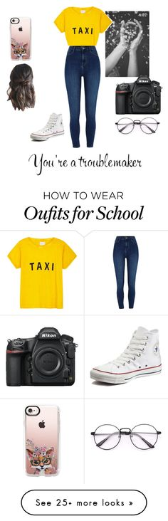 """""""You're a troublemaker"""" by victoria-dalton on Polyvore featuring Peace and Love by Calao, Compañia Fantastica, River Island, Converse, Casetify and Nikon"""