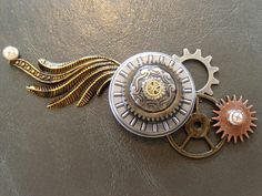 Steampunk bridal belt brooch or brooch for hairpiece