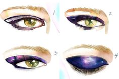 How to Re-create the Violet Eyes From Jason Wu - The Cut (illustrated by the AMAZING Samantha Hahn) // reminds me of when i used to paint makeup looks as a kid! haven't thought about those watercolors in years...