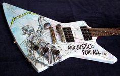Gibson Explorer Metallica 'And Justice For All' artwork Guitar Art, Music Guitar, Cool Guitar, Playing Guitar, Guitar Room, Ron Mcgovney, Robert Trujillo, James Hetfield, Gibson Explorer