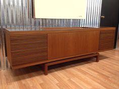 Vintage Danish Modern Teak Stereo Media Cabinet Credenza, Made in Denmark