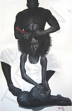 This is by far one of the most romantic artistic expression of black love that I've ever laid eyes on. Dang, I want a wonderful man to grease my scalp! I wanna do this! Natural Hair Art, Pelo Natural, Natural Hair Styles, Black Girl Art, Art Girl, Black Man, African American Art, African Art, Arte Black