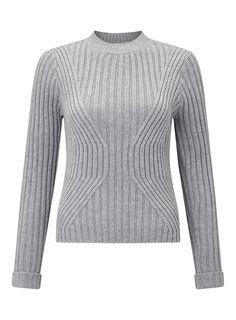 Grey Rib Transfer Knitted Jumper Sweater