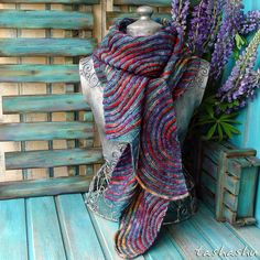Ravelry: Aurora Borealis pattern by Svetlana Gordon Knitted Afghans, Crochet Shawl, Peacock Crochet, Wrap Pattern, How To Purl Knit, Knitting Accessories, Clothing Accessories, Vintage Knitting, Aurora Borealis
