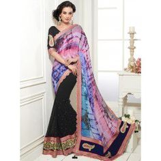 Buy Multi Color Georgette Saree With Resham And Patch Work Designer Sarthi Collection Online In India - saree.com