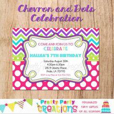 CHEVRON and DOTS CELEBRATION invitation  by PrettyPartyCreations, $11.50