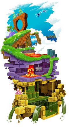 Green Hill Zone on top of Marble Zone on top of Labyrinth Zone from the original Sonic The Hedgehog Hedgehog Art, Shadow The Hedgehog, Sonic Hedgehog, Sonic Fan Art, Retro Video Games, Video Game Art, Original Sonic The Hedgehog, Mundo Dos Games, Arte Nerd