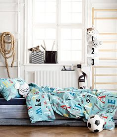 ABC Alphabet Toddler Bedding Twin Duvet Quilt Cover 2pc Set Print 100% Cotton Boys Bedding Car Traffic City Teal Blue Red Gray Black Duvet Cover Set http://www.amazon.com/dp/B01AO0UHB2/ref=cm_sw_r_pi_dp_8F8Zwb0KGPW1M