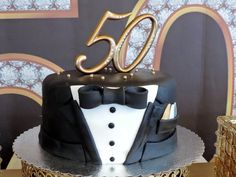 50 Topped Birthday Cake From Fabulous Black Amp Gold Party At
