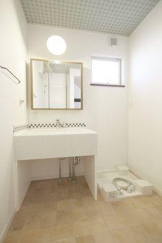 造作洗面台/洗面室/タイル/ナチュラル/注文住宅/インテリア/施工例/ジャストの家/washstand/lavatory/powderroom/bathroom/vanity/natural/design/interior/house/homedecor
