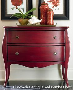 Submitted by Furniture Works If you are looking for furniture to accessorize and beautify your home then Bombay Chest Furniture will be the perfect Red Painted Furniture, Paint Furniture, Furniture Projects, Living Room Furniture, Furniture Design, Fireplace Furniture, Painted Wood, Modern Furniture, Hand Painted
