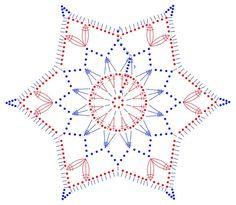 Crocheted motif no. 763 - Her Crochet Crochet Snowflake Pattern, Crotchet Patterns, Crochet Motifs, Crochet Snowflakes, Crochet Diagram, Thread Crochet, Crochet Christmas Ornaments, Christmas Crochet Patterns, Holiday Crochet