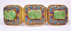 Big Antique Chinese Export Gilt Silver Filigree Enamel Jadeite Inlaid Bracelet   eBay