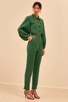 Gorgeous forest green jeans style jacket with puff sleeves and cropped tailored matching trousers pants Trendy Outfits, Cool Outfits, Fashion Outfits, Womens Fashion, Green Outfits, Fashion Trends, Looks Style, My Style, Vetements Clothing