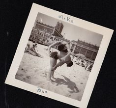 Vintage Antique Photograph Man in Bathing Suit on Beach Balancing Man on Back