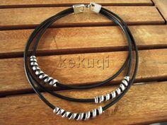 women tribal bohemian black leather necklace with by kekugi