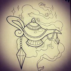 Genie Lamp Design by Rebekka Rekkless via @rebekkarekkless on Instagram. Tattoo apprentice at Adorned Tattoo, Dorset UK. https://www.facebook.com/AdornedTattoo