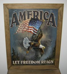 Framed Vintage Style Tin Sign, America let freedom reign, man cave, USA, garage decor, wall hanging