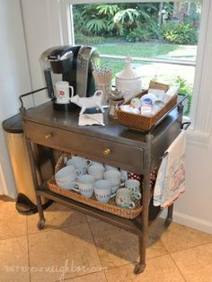 Using a tea cart for a coffee station is a super idea! Portable Feast - Coffee Bar Plans - 15 Coffee Bars to Perk Up Your Home Design - Bob Vila - Bob Vila Coffee Nook, Coffee Bar Home, Coffee Carts, Home Coffee Stations, Coffee Corner, Coffe Bar, Coffee Mugs, Coffee Maker, Office Coffee Station