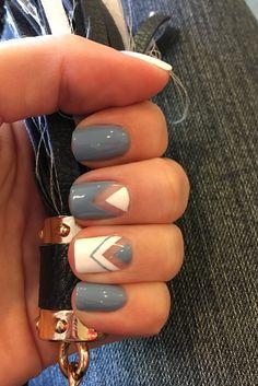 Sky Blue Triangle Nail Art