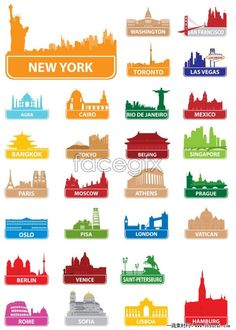 World famous architectural silhouettes vector Skyline Tattoo, Packing Ideas, Silhouette Vector, Drawing Lessons, World Famous, Teaching Tips, Party Games, Live Life, Geography
