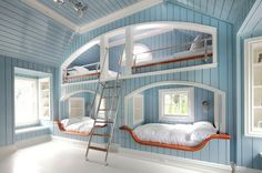 Neil Landino Cool Bunk Beds Built In Bunks Awesome Bedrooms Modern Bunk Beds, Cool Bunk Beds, Kids Bunk Beds, Tween Beds, Build In Bunk Beds, Beds For Girls, Built In Beds For Kids, Unique Bunk Beds, Lofted Beds