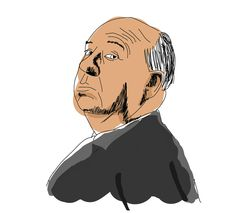 Sir Alfred Hitchcock you can more watch: https://www.behance.net/hectorromanr