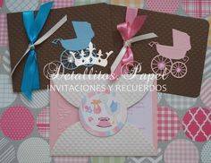 Invitaciones Baby Shower Carreolas y cigueña