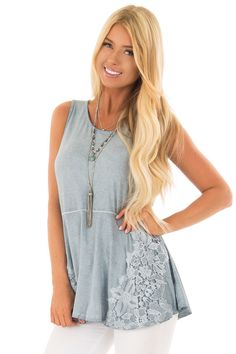 fbeb5dea Lime Lush Boutique - Denim Blue Mineral Wash Tank Top with Lace Details,  $38.99 (
