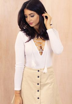 Long Sleeve Ribbed Lace Up Body in White - One Nation Clothing - One Nation Clothing - 1