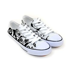 Cute Panda Series Couple Matching Low Top Hand Painted Shoes, New Arrival Hand Drawing Shoes, Cosplay Hand Drawing Shoes