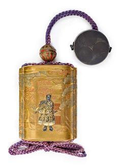 A FOUR-CASE LACQUER INRO SIGNED KAJIKAWA BUNRYUSAI AND WITH TSUCHIYA YASUCHIKA ON A GOLD RESERVE, EDO PERIOD (19TH CENTURY) Decorated in gold and polychrome lacquer hiramaki-e, takamaki-e, togidashi and kirikane with Minamoto no Nakakuni and Lady Kogo applied in shakudo, gold and silver, interior with nashiji; with a metal netsuke 3 in. (7.6 cm.) long