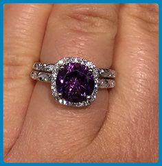 Amethyst rings, 14k White Gold Purple amethyst stone rings set, Diamond Rings set, Leaf and Vine Engagement Ring and Its Perfect Matching Wedding Band - Wedding and engagement rings (*Amazon Partner-Link)