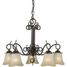 Shandy 24-In 5-Light Antique Bronze Tinted Glass Candle Chandelier Lw2
