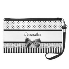 Black And White Victorian Stripes With Name Wristlet $49.95 #ohsogirly #fashionaccessories #giftsforher