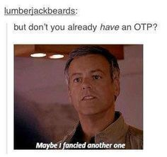 """""""Or maybe I have more than one."""" """"It's Otp, one true pairing."""" So what, I have more than one."""" """"Then it would be Mtp's, multiple true pairings.""""  """"That's just stupid."""" AN ACTUAL CONVERSATION I'VE HAD! :)"""