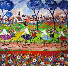 by Portchie Bicycle Painting, Bicycle Art, Colorful Pictures, Art Pictures, Art Pics, African Colors, South African Artists, Watercolor Sketch, Home Art