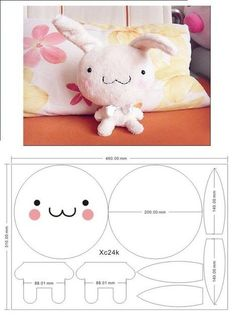 KUFER with artistic handicrafts: Rags - patterns Sewing Stuffed Animals, Stuffed Animal Patterns, Plushie Patterns, Doll Patterns, Felt Diy, Felt Crafts, Kawaii Diy, Kawaii Bunny, Anime Kawaii