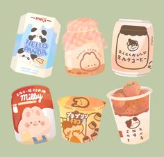 Food Stickers, Kawaii Stickers, Journal Stickers, Printable Stickers, Cute Stickers, Cute Food Drawings, Cute Kawaii Drawings, Cute Animal Drawings, 365 Kawaii