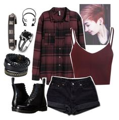 """Untitled #60"" by fangirl-trash ❤ liked on Polyvore featuring H&M, Levi's, Pieces, West Coast Jewelry, Valentino and Dr. Martens"