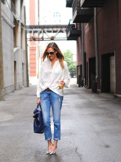 Effortless white blouse and jeans
