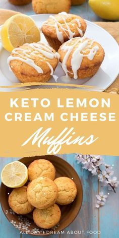Deliciously tender keto muffins with cream cheese and lemon. Grain-free and sugar-free. Low Carb Desserts, Low Carb Recipes, Dessert Recipes, Cooking Recipes, Healthy Recipes, Comida Keto, Keto Cookies, Low Carb Breakfast, Lemon Recipes