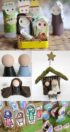 Nativity - and other holiday crafts too. Make your own nativity set -My favourite craft ideas so far are for nativity scenes – the kids can play with them, keep them in their room, and best of all…they can help you make them. Preschool Christmas, Christmas Nativity, Noel Christmas, Christmas Crafts For Kids, Christmas Activities, Christmas Projects, Winter Christmas, All Things Christmas, Holiday Crafts
