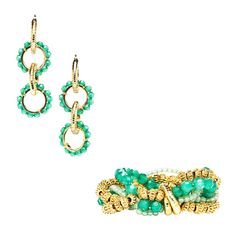 "Enjoy your big screen moment in Bollywood Beauty. This vivacious bracelet and earring set satisfies your flair for the dramatic and captivates your real-life hero with its stunning color and sensual form. Strands of gold, emerald-and jade-hued beads make weighty wrist candy. Four interlocking rings accented with emerald beads and shiny gold dangle from your ears. The earrings fasten with omega backs.    NECKLACE DETAILS  Approx. Bracelet Width: 1""/ 8"" Diameter  Approx. Earring Length: 3.5"""
