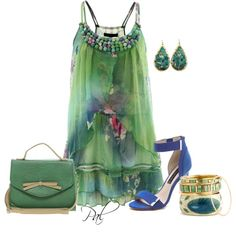 A fashion look from June 2013 featuring green dress, strappy sandals and handbag purse. Browse and shop related looks.
